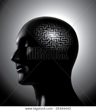 Brainstorm: Gehirn-Labyrinth-Konzept.Raster-version