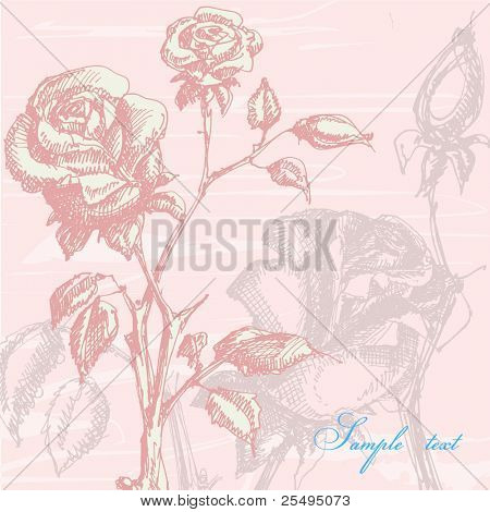Floral card with vintage roses