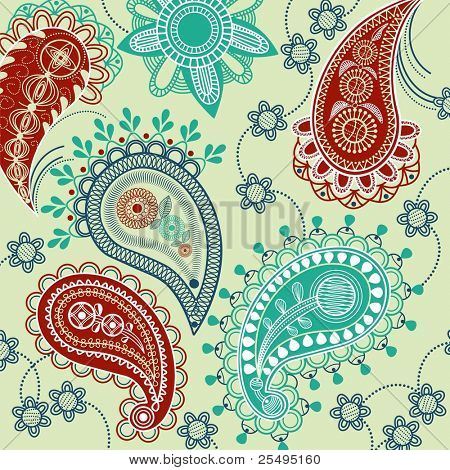 Paisley pattern with flowers
