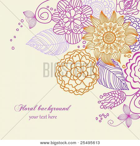 Cute floral background in vivid colors