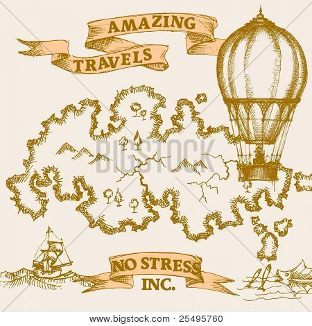 Vintage travel background, recreation concept