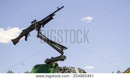 Machine Gun Mounted On A