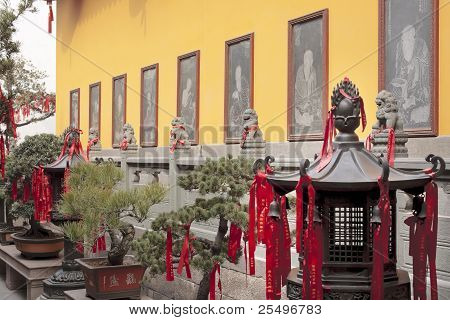 Buddhist Stone Etchings Lanterns Red Ribbon Decorations Jade Buddha Temple Jufo Si Shanghai China