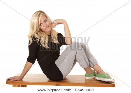 Woman Side Bench Envious Expression