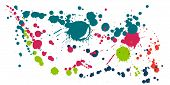Paint Stains Grunge Background Vector. Funky Ink Splatter, Spray Blots, Dirty Spot Elements, Wall Gr poster