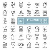 Set Of Insurance Vector Line Icons. Flat Thin Outline Icons Isolated On White. Eps 10 poster