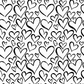 Pattern Of Hearts Hand Drawn Vector Sketch. Seamless Heart Art Background Hand Drawn By Marker Drawi poster