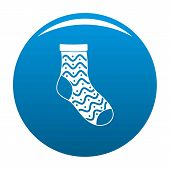 Nice Sock Icon. Simple Illustration Of Nice Sock Icon For Any Design Blue poster