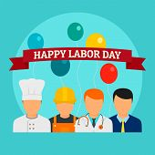 Happy Labor Day Holiday Background. Flat Illustration Of Happy Labor Day Holiday Vector Background F poster