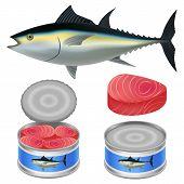 Tuna Fish Can Steak Mockup Set. Realistic Illustration Of 4 Tuna Fish Can Steak Mockups For Web poster
