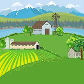 Farm Landscape With Farm House, Windmill And Mountain Background. Flat Color Style Vector. poster