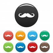 Heavy Mustache Icon. Simple Illustration Of Heavy Mustache Icons Set Color Isolated On White poster