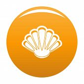 Nice Shell Icon. Simple Illustration Of Nice Shell Icon For Any Design Orange poster