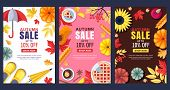 Fall Seasonal Illustration. Set Of Vector Sale Banner Or Poster Template. Colorful Frames, Backgroun poster