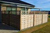 Wooden Fence. Terrace Fence. Wooden Fence With Privacy Lattice Screen. poster