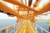 Gangway Or Walk Way In Oil And Gas Construction Platform, Oil And Gas Process Platform, Remote Platf poster