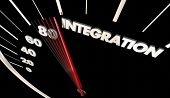 Integration Car Vehicle Automobile Integrated Tech Speedometer Word 3d Illustration poster