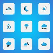 Climate Icons Colored Set With Snow, Drizzle, Moon And Other Snowfall Elements. Isolated Vector Illu poster