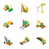 Men Machinery Icons Set. Cartoon Set Of 9 Men Machinery Vector Icons For Web Isolated On White Backg poster