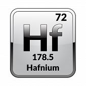 Hafnium Symbol.chemical Element Of The Periodic Table On A Glossy White Background In A Silver Frame poster