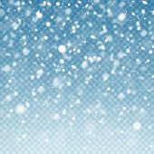 Realistic Falling Snow. Snow Background. Frost Storm, Snowfall Effect On Blue Transparent Background poster