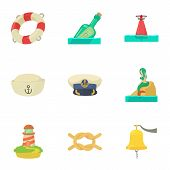 Recovery On Water Icons Set. Cartoon Set Of 9 Recovery On Water Vector Icons For Web Isolated On Whi poster