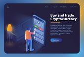 Buy And Trade Cryptocurrency. Mobile Bitcoin Business. Finance, Global Digital Money. Mobile App. Cr poster