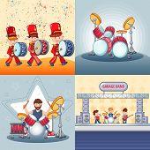 Drummer Rock, Musician Band Banner Concept Set. Cartoon Illustration Of 4 Drummer Rock, Musician Ban poster