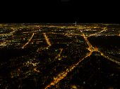 Aerial Night View Of A Big City. Beautiful Cityscape Panorama At Night. Aerial View Of Buildings An  poster