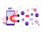 Social Media Ultra Violet Concept Vector Illustration With Magnet Engaging Followers And Likes. Infl poster