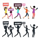 International Women Protesters Walking On Manifestation. Feminism, Womens Rights And Protest Vector  poster