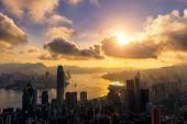 Hong Kong City Skyline At Sunrise. View From The Peak Hongkong. poster