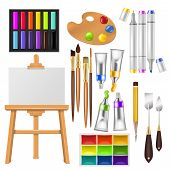 Artist Tools Vector Watercolor With Paintbrushes Palette And Color Paints For Artwork In Art Studio  poster