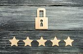 A Wooden Padlock And Five Stars. Security, Security Of Users And Business. Internet Security, Antivi poster