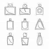 Fragrance Bottles Aroma Flavor Perfume Icons Set. Outline Illustration Of 9 Fragrance Bottles Aroma  poster