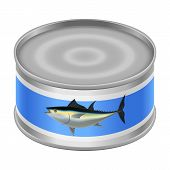 Canned Tuna Mockup. Realistic Illustration Of Canned Tuna Mockup For Web Design Isolated On White Ba poster