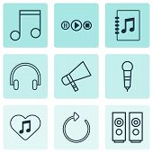 Audio Icons Set With Mike, Favorite Tune, Loudspeakers And Other Tune List Elements. Isolated  Illus poster