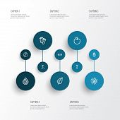 Meditation Icons Line Style Set With Drop, Peace Hand, Fruit Sunshine Elements. Isolated Vector Illu poster