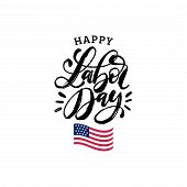 Vector Happy Labor Day Card. National American Holiday Illustration With Usa Flag. Festive Poster Or poster