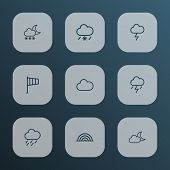 Climate Icons Line Style Set With Lightning, Fog, Blizzard And Other Snowy Raining Elements. Isolate poster