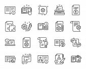 Technical Documentation Line Icons. Set Of Instruction, Plan And Manual Linear Icons. Help Documents poster