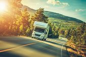 Camper Van Summer Trip. Scenic Norway Landscape And The Recreational Vehicle. poster