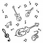 Musical Instruments, Violin, Guitar, Saxophone Doodle. Vector Illustration Of A Guitar, A Violin And poster
