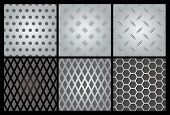 Metal texture 6 set. Illustration vector.