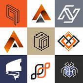 Abstract Logo Collection, Modern Logo Flat Color Combinations, Industrial Logo, Business And Technol poster