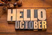 Hello October - word abstract in vintage letterpress wood type blocks against grunge wooden backgrou poster