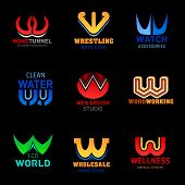 Letter W For Company Brand Name And Corporate Identity Design. Vector Abstract Z Icons Wrestling Clu poster