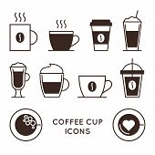 Coffee And Tea Cups Linear Icons Set. Disposable Coffee Cup And Hot Drink Mug Vector Symbols. Coffee poster