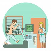 Medical Testing Person On Treadmill Concept. Flat Illustration Of Medical Testing Person On Treadmil poster