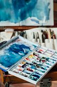 Painting Art Classes. Drawings Creation. Color Mix. Messy Watercolor Palette. Artist Instruments And poster